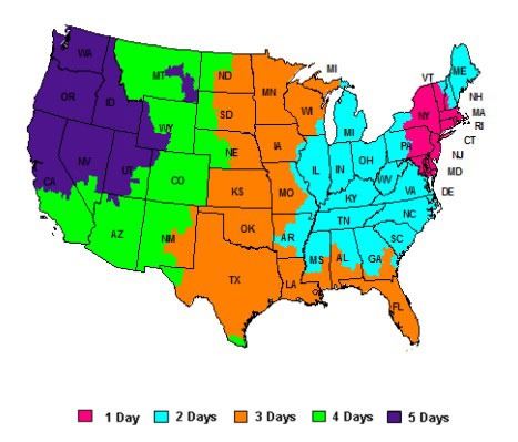 FedEx Shipping Delivery Dates Map for US States